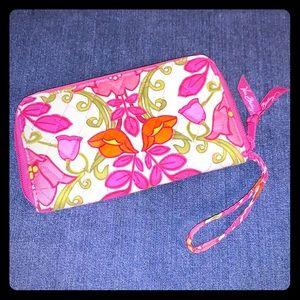 Vera Bradley pink floral wristlet